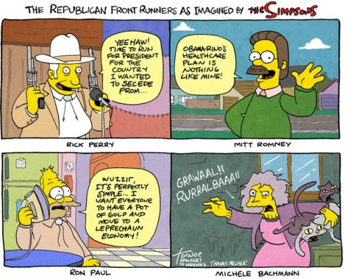 tjarmour:  The Republican Front Runners As Imagined By The Simpsons   Hilarious!