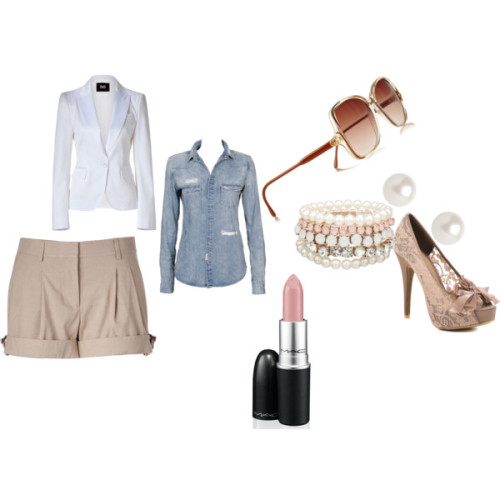 White Blazer & Pink Nights by hangel117 featuring beige shorts