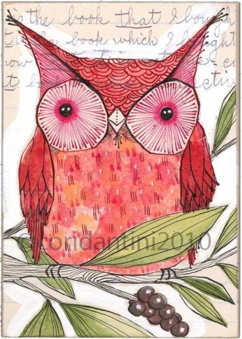 (via red owl print bird art wall art reproduction limited by corid)