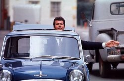 coaasscomics:  James Garner in his custom built Morris Cooper S.