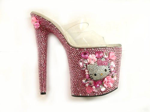 "DIY 8"" Hello Kitty Stripper Stiletto Heels - $750.00"