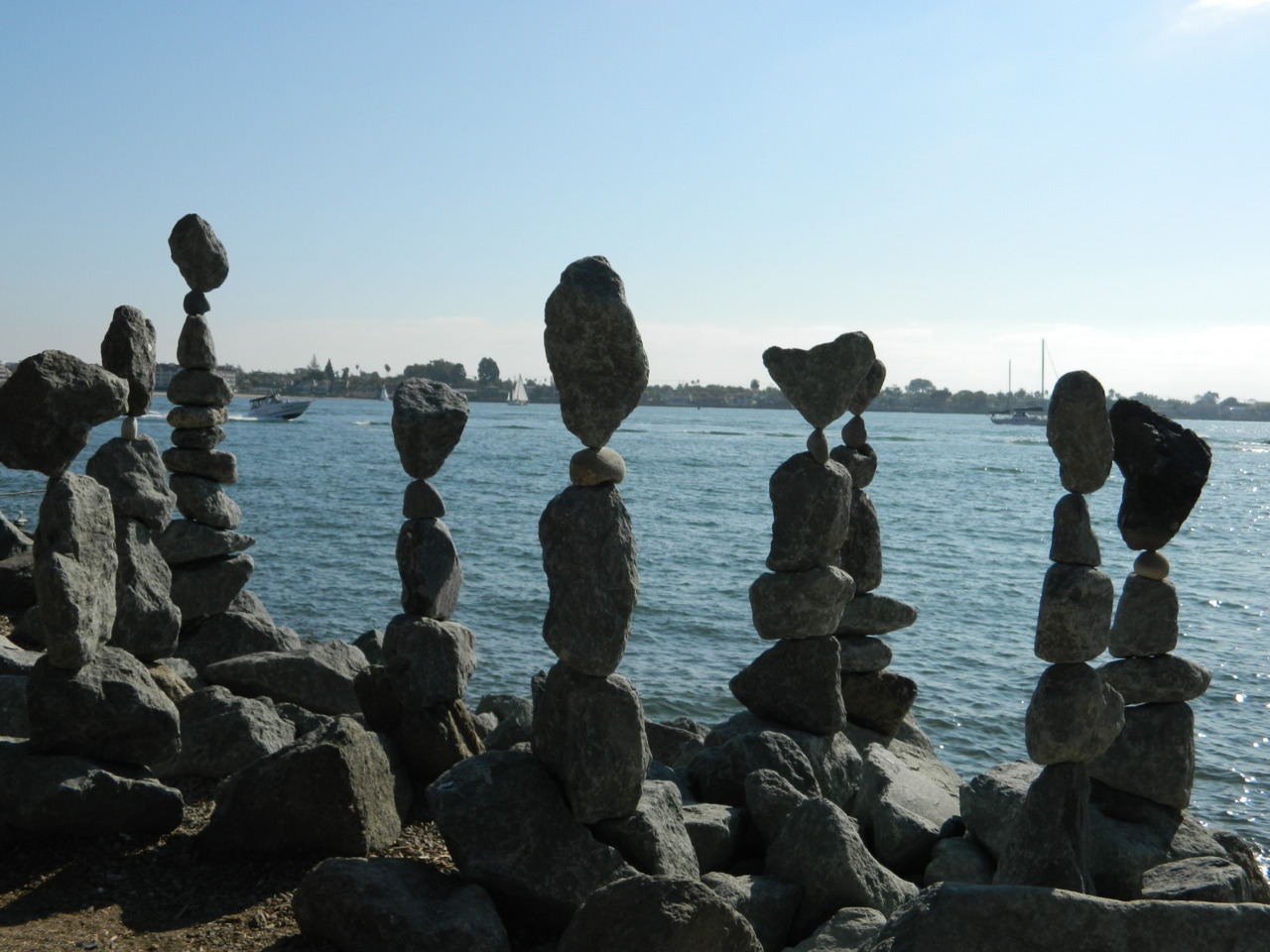 There is this man in seaport village who balance rocks, and he actually showed us how he did it. The man is amazing.