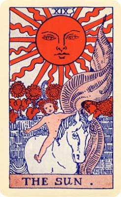 "alisonwynn:  Made a tarot card wish and pulled The Sun! Drawing this card says ""yes,"" in a yes or no question. Literally, for you it is the dawn of a new day. The card is the solar power of positive thinking. Close your eyes and envision the future. Then, stride confidently on today's new, promised timetable associated with bright beginnings. The Sun lights your life with accomplishments. Set your goals and then let each movement be decisive and efficient."