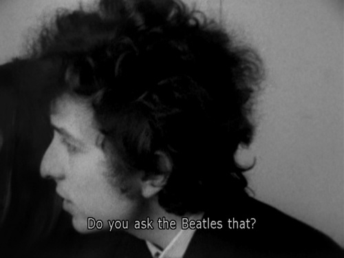"Another can't-miss 1965 scene from Don't Look Back in which Dylan berates, mocks, ""questions,"" and playfully teases Time Magazine's Horace Judson. The best part is Dylan's response to ""Do you care about what you're saying?"" Dylan: How could I answer that, if you've got the nerve to ask me?! I mean, you've got a lot of nerve to ask me a question like that! Do you ask the Beatles that? Time: I have to ask you that because you have the nerve to question whether I care… Dylan: I'm not questioning you because I don't expect any answer from you."
