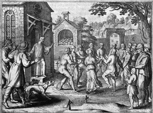 The Dancing Plague of 1518 A French woman known as Frau Troffea stepped onto a market street in Strasbourg, France, in July of 1518 and began fervently dancing; she didn't stop for another week. By the end of the month, over 400 other people were uncontrollably dancing; many were dying from heat stroke or exhaustion, and expressed terror at their inability to stop.  This lasted for about a month or two, and was always seen as an extremely strange and bizarre event. Recent investigations to solve this puzzling mystery suggest a mold that might have contaminated their crops; the mold makes people delusional and convulsive. Scholars have also suggested that extreme anxiety over the failure of their crops and a warning about angering St. Vitus led to a mass hysteria; a Christian legend says that anyone who incurred the wrath would be cursed with uncontrollable dancing. (via obscureoddities)  ONCE MORE WITH FEELING