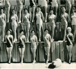 onefitmodel:  vintagegal:  Miss Universe Pageant 1954- Miss New Zealand passed out from the heat  NOTICE THE LACK OF THIGH GAPS  Of course Miss NZ did. What over 15 degrees wat