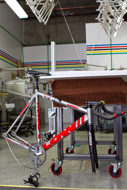 snatchboogie:  Shop Visit: Low Bicycles - Handmade 7005 Aluminum Track Frames by John Prolly on Flickr.