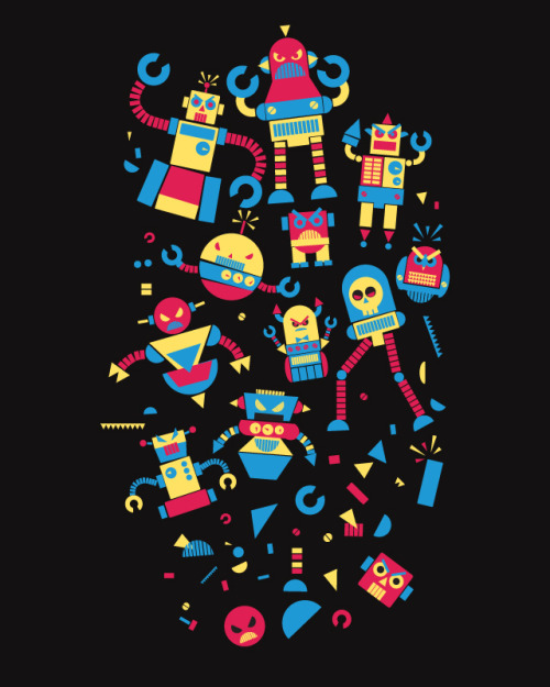 Angrry Robots! Submitted to Threadless :)