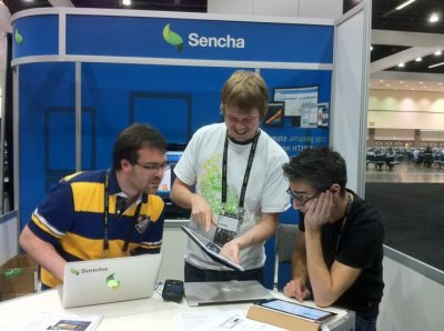 Luca Candela, Arne Bech, and David Kaneda showing off Sencha Animator at Adobe MAX.