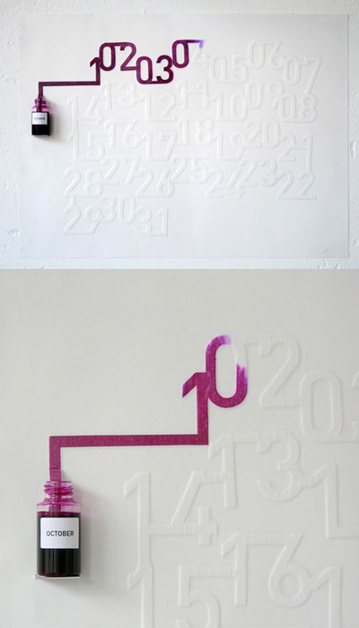 ianbrooks:  Ink Calender by Oscar Diaz The Ink Calender uses spreading ink to slowly fill in the numbers corresponding to each day of the month, which each individual number slowly filling in throughout the day. (via: reddit)
