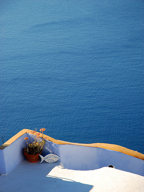 | ♕ |  Azure Blue - Fira, Santorini  |  by Marcel Germain