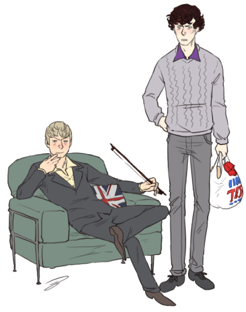 "reapersun:  ""sherlock… when did you have time to get fitted for a new suit?! you're supposed to be working on SWITCHING OUR BODIES BACK"" ""…your wardrobe impairs my thinking"" BUT……….. THEN  (okay some of these are only half fits but yeah they are all bodyswap/jumper related at least) muya0909: If you're still taking requests, would it be Sherlock and John exchange their souls with each other?fuckyeahsherlockfics: Could you draw a Sherlock/John clothing/personality swap? Maybe Sherlock as a soldier and John as a dapper sociopath? Whatever appeals to you. nobodylovesringostarr: OR you could draw Sherlock as John and John as Sherlock :D drinkthetaste: if you're taking requests, can you draw sherlock and watson switching up? sherlock sitting there with a cup of tea with Watson blowing up the furniture xD or whatever.not2late: Would you please draw Sherlock in one of John's jumpers, and vice versa? (John in long trench coat scarf..) clockworktimebomb: If you're still taking requests… can we have Sherlock trying to wear John's jumper, looking ridiculous, with John laughing?reluctanthero27: Could I request a drawing for this? ""I feel like Sherlock sometimes wears John's sweaters when he's bored and John is out of the house. He'll walk around and go ""Look at me! I'm John. I'm so nice about everything. NO sherlock, don't put the dead thing in the fridge, I need room for all my normal, soul sucking items. No, Sherlock, don't be mean to anderson he's our friend! Blah Blah Blah Blah!""Then, seconds later he breaks down, falls on the couch and goes. ""I miss you so much! COME HOME!"""