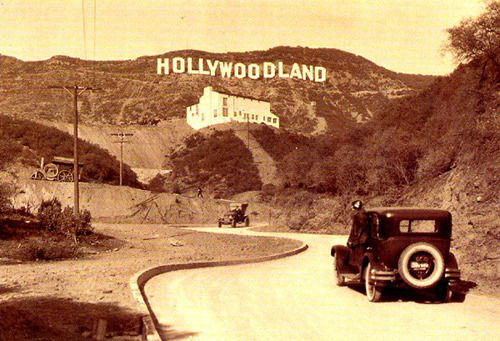Old picture of the Hollywoodland sign, circa 1920. LAND burned down, which is why we call it Hollywood today. Sometimes, mother nature has good marketing ideas.