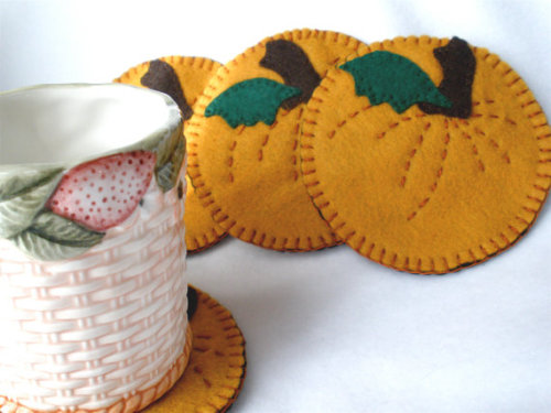 Pumpkin Coasters MugMats Set of Four by HeartStringsHandmade