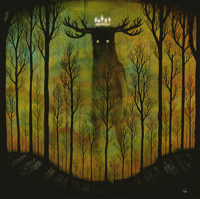 "oxane:  Lord of Ghouls by andy kehoe 30"" x 30""Oil & Acrylic on Wood Panel2011Preview for ""Arise Feral Night""Opens Oct 14th, 2011Roq La Rue Gallery"