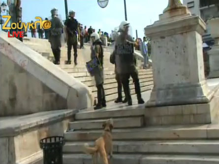 rebeldog:  5 oct 2011, Happening now! Capture from live webcam from #syntagma #5ogr