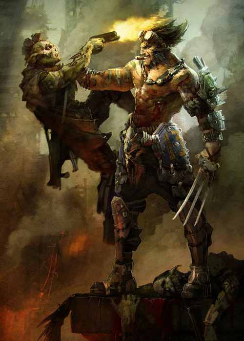 justinrampage:  Steampunk Wolverine still finds time to rock a cigar while disposing of the scumbag criminals. Mikhail Rakhmatullin created this excellent piece for GameArtisans' 2011 Comicon Challenge. Wolverine by Mikhail Rakhmatullin (deviantART)