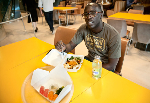 cocothinkshefancy:  ramou:  gq:  Lunch With Omar In Our Cafeteria  Writers will see your work and want to try you in different things but I think you have to stay true to your vehicle. We all have a vehicle. Whether it's a thug, or a school child or the babyface or the sex siren or the video vixen, whatever it is ride that until the wheels fall off and eventually, if you build your foundation then you can branch off. I use De Niro as an example. At the beginning of his career when he was doing those thugged-out movies—The Godfather Part II, then Goodfellas and Casino—I guarantee you he wasn't thinking about doing no Meet the Fockers.  Sweet Moses.