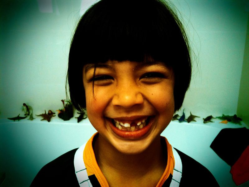 Little 7 year old from work who lost her first front tooth today…cute.