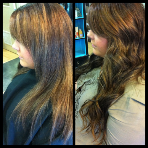 "Extension Day 3: fellow beautiful hairstylist, Corinn! Client Wants: Corinn has long hair that doesn't seem to get any longer and wanted more length/fullness.. AKA: Kardashian Hair ;). She also wanted some subtle highlighting around her face without the damage of lightening her own hair. SoCap Solution: I bonded 100 strands (2 bundles) to gain the desired fullness and approx 4"" in length.  Due to SoCap's extensive color selection, I ordered several pieces in lighter caramel shades to focus around the face for the highlights."