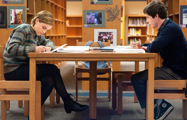 Emma Watson and Logan Lerman in the first official still from The Perks of Being a Wallflower  samantha is supposed to have long hair.. could they not have given emma a wig? this annoys me, such a simple thing :@