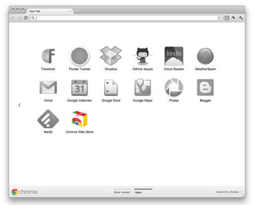 Google Chrome (beta channel) - Shows the icons of apps that require internet in grayscale when you don't have an active internet connection. /via nikreiman