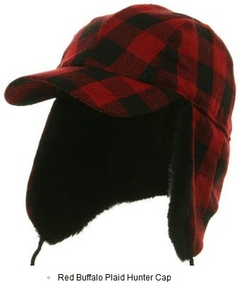 Red & black wool plaid buffalo cap with faux fur lining.