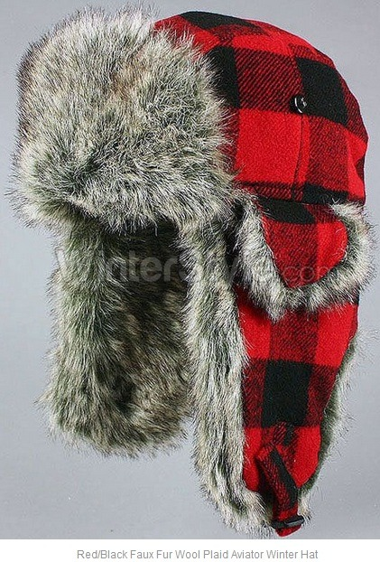 Red & black plaid aviator winter hat/cap with faux fur.