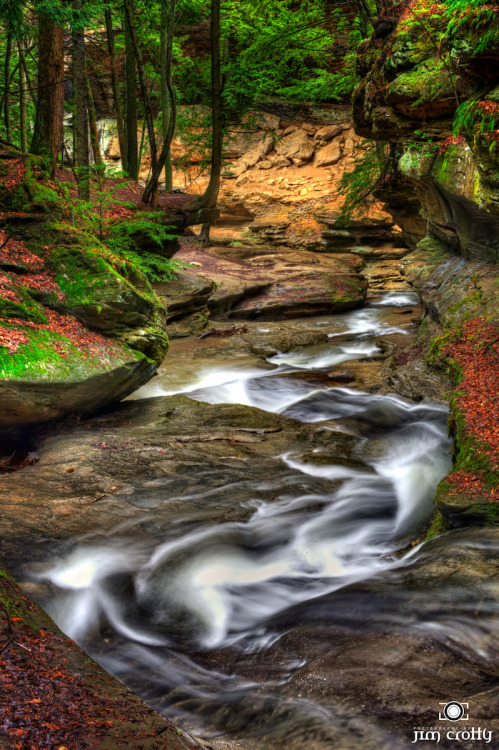 Spring flow at Old Man's Cave @ Hocking Hills, Ohio. The vertical version. I've been revisiting archived raw image files and doing some re-touching using some new digital edit tools and techniques.