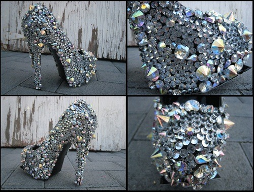 wifelifexoxo:  I might start making crazy ass heels like this, would anyone buy them?!?  I'm gonna wear these tonight. Maybe Eric won't mind since her can't remember much.