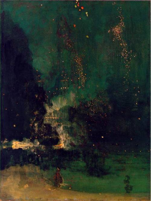 artisabeatingdrum:  James A.M. Whistler Nocturne in Black and Gold: The Falling Rocket 1875