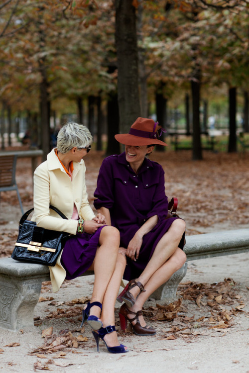 calivintage:  elisa nalin and garance dore photographed by the sartorialist.
