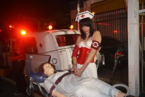 Art of Bleeding Nurse Amputette with ambulance at Linda Vista Hospital. (PHOTO: Melissa Tremblay)