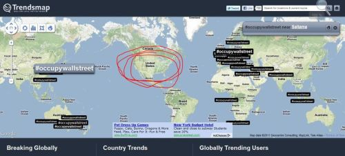 wespeakfortheearth:  TrendsMap Proves Scary Twitter Censorship Of #OccupyWallStreet From Trending Topics A Trends map of trending twitter hashtags shows #OccupyWallStreet tweets surging in nations around the entire world, except in the United States, while Google Trends shows a corporate media blackout. JP Morgan has invested $400 million dollars into twitter and in return [See image above]. Yet when the Freedom of Information Act Request is submitted to explain this, we will find the Feds ordered it to be censored due to national security, hence covering up Wall Street bankers commanding twitter to censor the hashtag. Then, shortly after this article received a lot of attention, it comes back on the world map but still not allowed to be shown on the right hand side of trends.