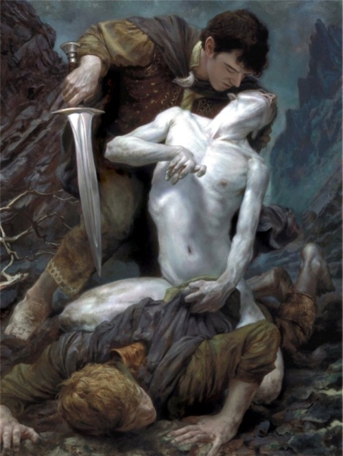 "tolkien-for-steve-guildford:  Donato Giancola - The Taming Of Smeagol One of the most beautiful Tolkien-inspired paintings I've ever seen. Giancola is a genius. Also, by far the most popular picture on this blog - nearly 1400 likes and re-blogs. And yes I think we all ""get"" the homoerotic element."