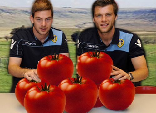 Ben and Jonny judge the Fifth Annual Yorkshire Giant Tomato Contest.