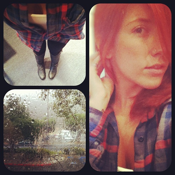 63 & RAIN - LEGGINGS/BOOTS & MENS BUTTON UP (Taken with Instagram at LCAD)