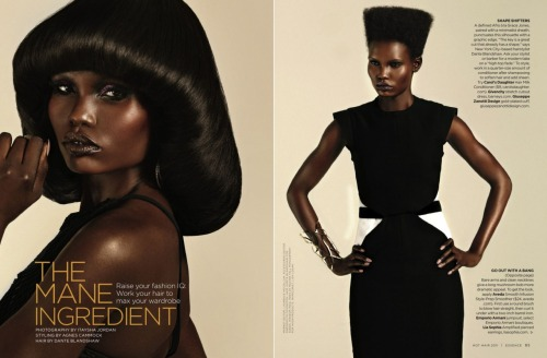 "yosoymikey:  ""The Mane Ingredient"" by @ItayshaPhoto for ESSENCE Hot Hair issue, November 2011. Styled by Agnes Cammock."