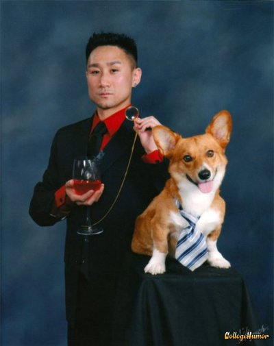 collegehumor:  Classy Senior Picture with Dog Every student gets a picture with the valedictorian.  hella class.