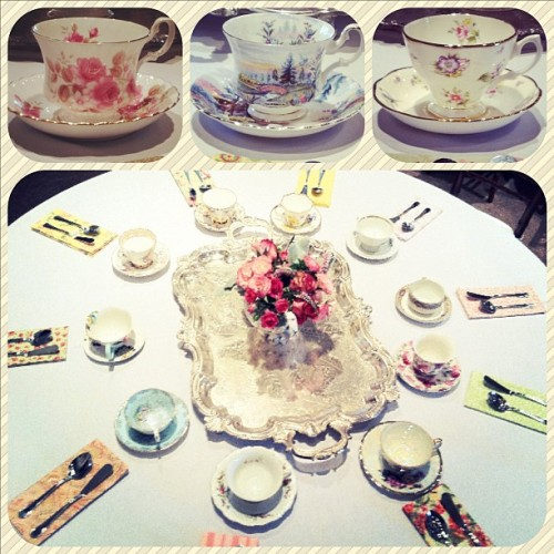 sugarbakerandtoad:  Vintage mismatched teacup and handmade shabby chic napkin rental by Sugarbaker & Toad!  These tables turned out so lovely.  :)