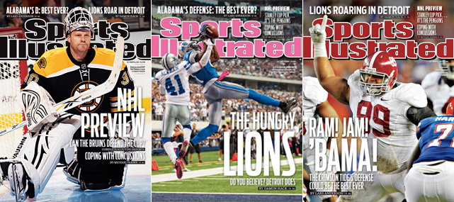 This week's issue of Sports Illustrated has three covers. The first  features Boston Bruins goalie Tim Thomas as the Bruins prepare to defend the Stanley Cup. The second is Detroit WR Calvin Johnson, who has helped the Lions race out to a perfect 4-0 record. The final cover is Alabama DL Josh Chapman and questions whether the Crimson Tide's defense could be the best ever?  (Bruins - Damien Strohmeyer/SI; Lions - David E. Klutho/SI; Alamaba - Bill Frakes/SI)