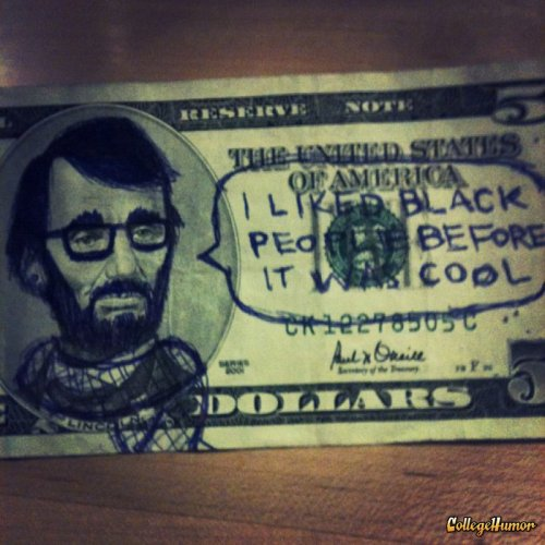Hipster Abraham Lincoln That's the chorus in his newly released single, Emancipation Proclamation.