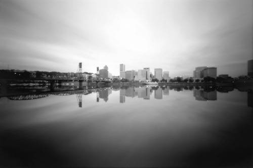 Portland through a pinhole. Taken with a handmade 6x9 medium format pinhole camera.