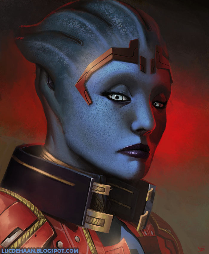 justinrampage:  The Mass Effect crew grows larger in Luc de Haan's ongoing illustration collection. His newest recruit is Quarian machinist Tali'Zorah. Mass Effect Crew by Luc de Haan (deviantART)