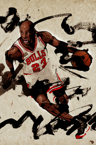 fuckyeanba:  Michael Jordan gets the Hooped Up treatment via artist Kim Min Suk [Hooped Up]