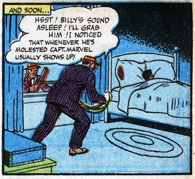 """comicsalliance:  Bizarro Back Issues: Captain Marvel and the Peace Ray (1946) By Chris Sims So yeah. That happened. Oh, relax. Despite the unfortunate modern-day subtext of that panel, the crook here only means it in the sense of generally harming. Point is, I've been reading through a lot of Golden AgeCaptain Marvel Adventurescomics lately, and if I've learned nothing, it's that Billy Batson and his super-heroic alter ego face even stranger situations than the average Golden Age hero, and that's saying something. Being stranded in a future of super-evolved ladybugs, having Zeus throw sub-standard lightning bolts at them from Mount Olympus, late-night visits from bondage-minded crooks — things get pretty weird for those guys. And while the panel above (fromCMA#50) might be the best to take out of context, the real kookiness hit eight issues later with a story ofDr. Sivana's Peace Ray.Released on April 12, 1946, the daring three-part story of """"Captain Marvel and the Peace Ra""""y came out at a time when the character was at the absolute peak of his popularity. Not only didCaptain Marvel Adventuresboast the highest circulation of any comic book, it was such a hit that Fawcett was putting out a 48-page issueevery other weekto meet the demand.And with good reason. Even at the frantic pace that they were churning out stories,Otto BinderandC.C. Beckwere putting out some of the greatest comics of the Golden Age, and arguably some of the best all-ages stories ever printed. Judging just by Binder's contributions to the Superman family in the Silver Age and the team's return to (sadly short-lived) greatness with the legitimately awesomeFatman: The Human Flying Saucer, their Captain Marvel work was easily 20 years ahead of its time. Heck, Fawcett had even headed off the parental concerns that would lead to the rise of the Comics Code in the '50s by having each issue carry an approval from an """"Editorial Advisory Board,"""" including """"Famous Aviator"""" Major Al Williams and an educator """
