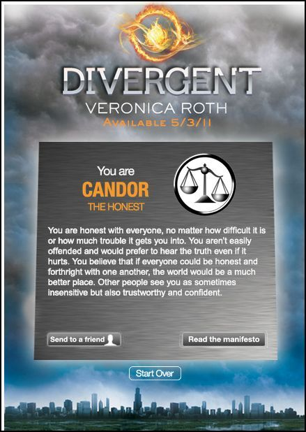 I got Candor which for me is completely not accurate. So yeah at the choosing ceremony I would pick Dauntless, and not just because its in the book, because I think that's where I legit belong.