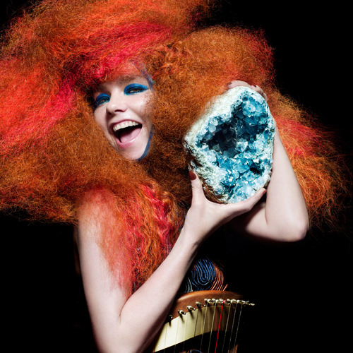 npr:  Biophilia, Björk's latest and most ambitious project yet, began  as a collection of songs written around themes of nature, science and  humanity's relationships to both. For most artists, that'd be a lofty  enough concept on its own. But Björk heavily researched astrophysics,  string theory, neurology, biology and other areas where science and  music meet. Her big ideas didn't stop there. Listen to the album: First Listen: Björk, 'Biophilia'  Photo credit: Inez van Lamsweerde & Vinoodh Matadin  My previous post about Björk's Biophilia project and a video of the virus-attack iPad game that goes along with the music.