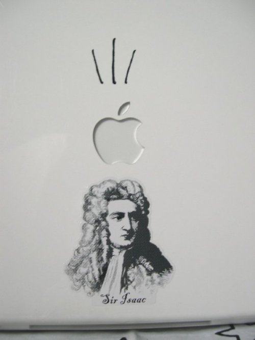 jtotheizzoe:  geekymerch:  (via Look Out Sir Isaac Macbook sticker decal in by MadmanIncognito)  Kinda love this one.