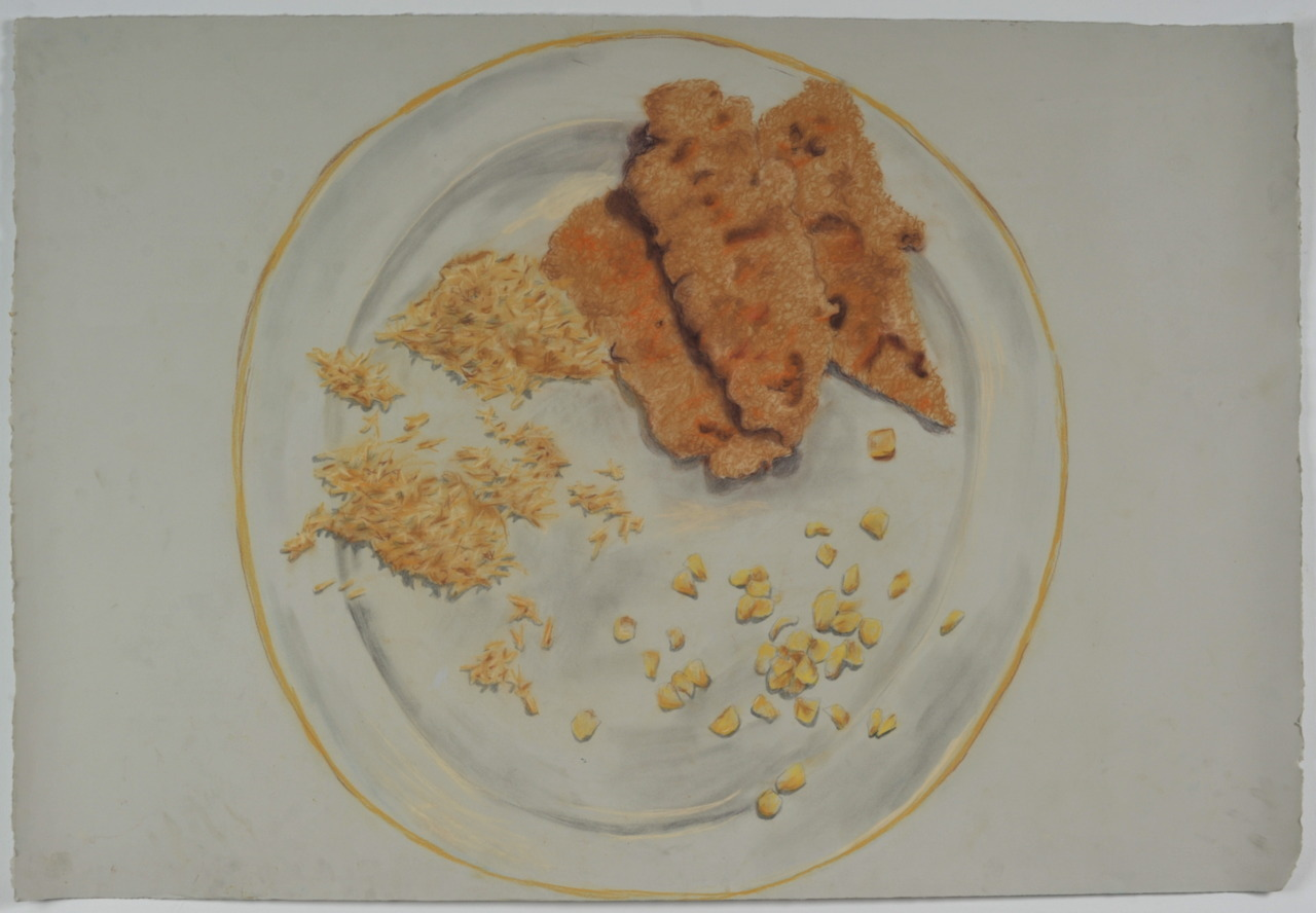 Monochromatic Meal, Chalk pastel on Paper, 28x40, 2010